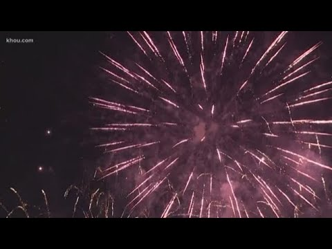 Fireworks show in downtown Houston
