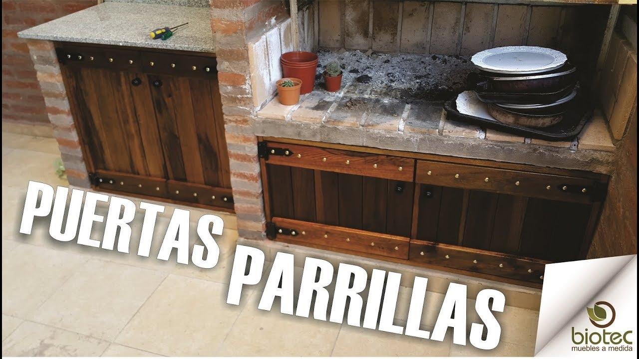 Puertas parrilla madera rustica a medida biotec muebles for Como hacer muebles para cocina