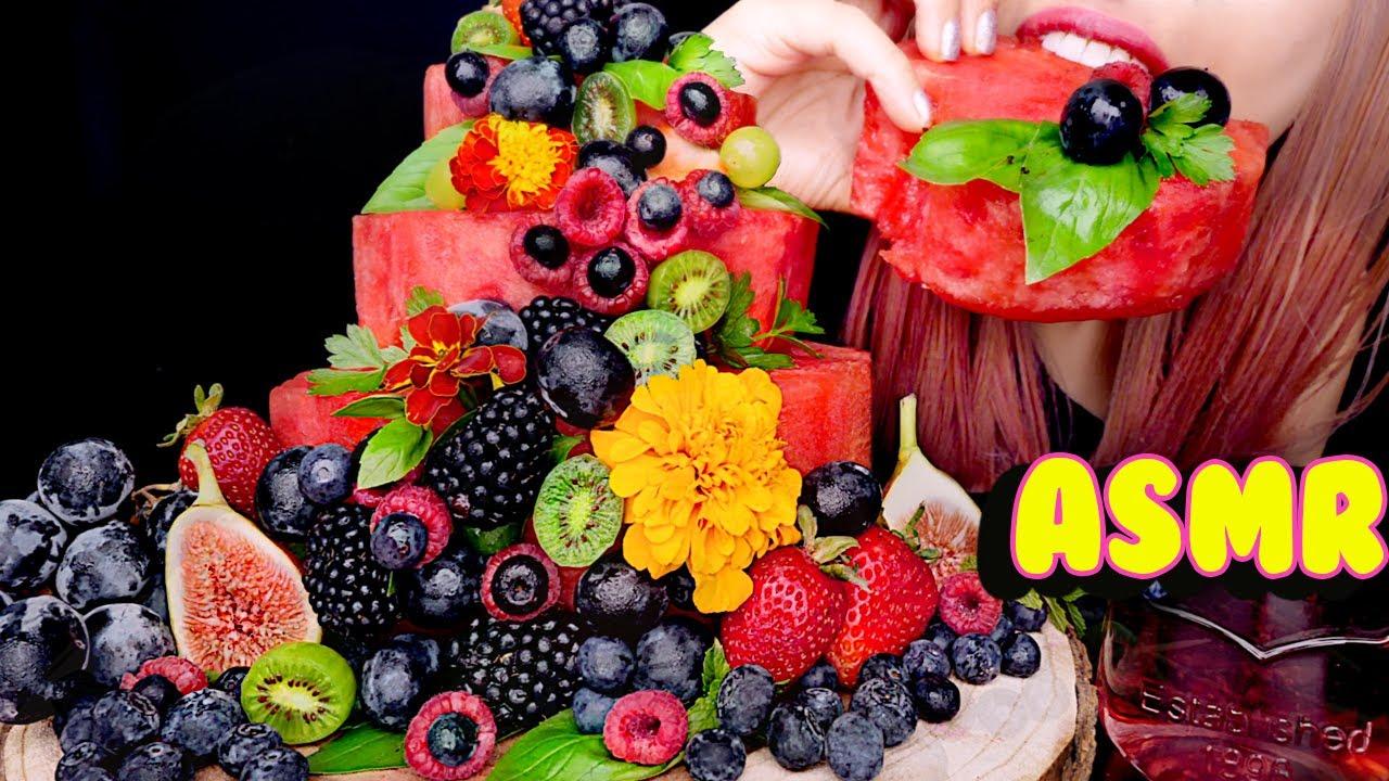 ASMR FRUIT FLOWERS FOREST WATERMELON CAKE | Eating Sounds 먹방
