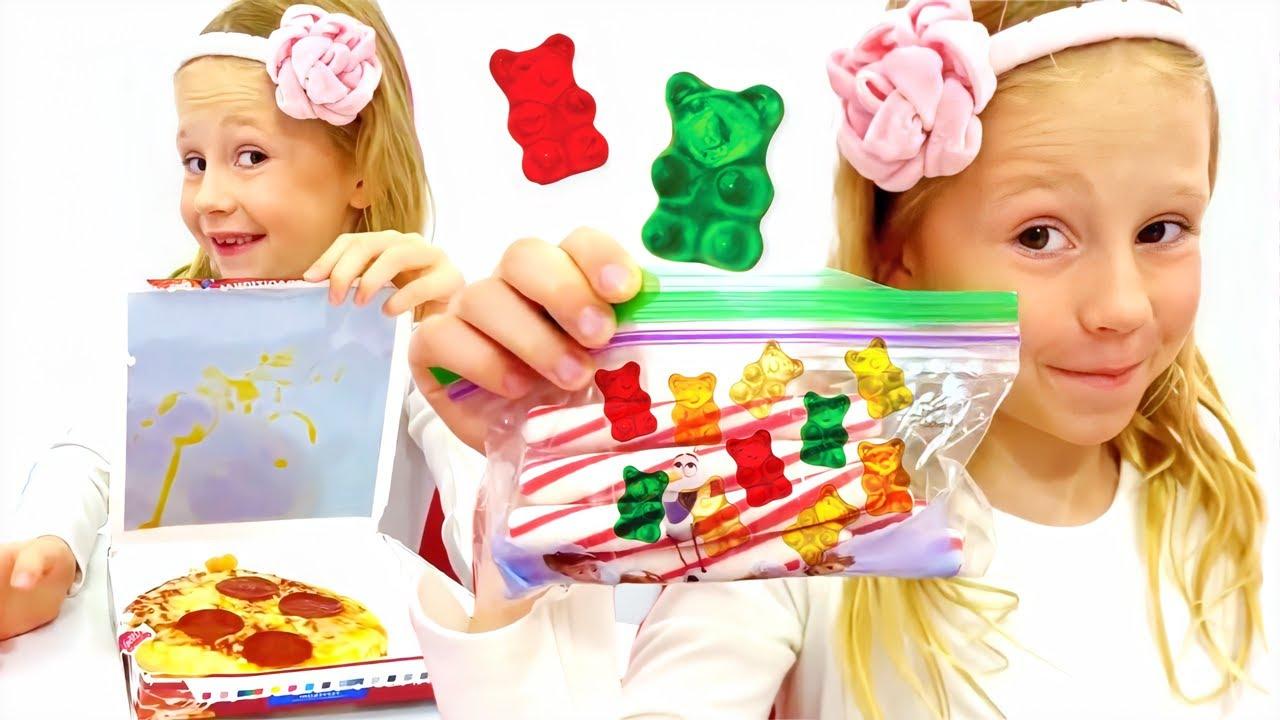 ناستيا وتحدي أكل الحلويات في المدرسة للأطفال