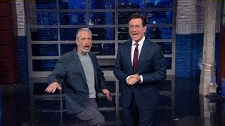 Jon Stewart Crashes Stephen's Monologue