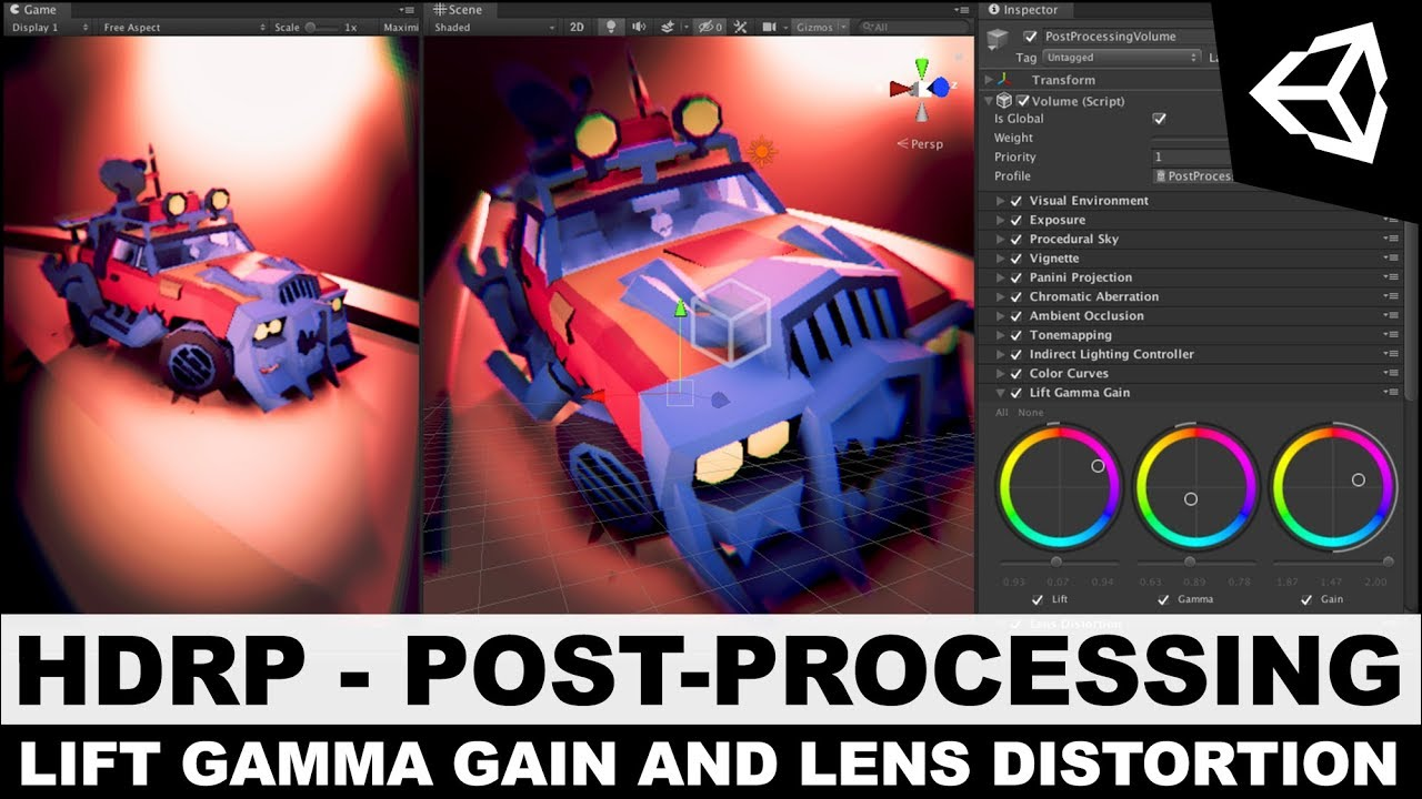 Unity3d HDRP - High Definition Rendering Pipeline Lens Gamma Gain, Lens  Distortion, and Color Adjust