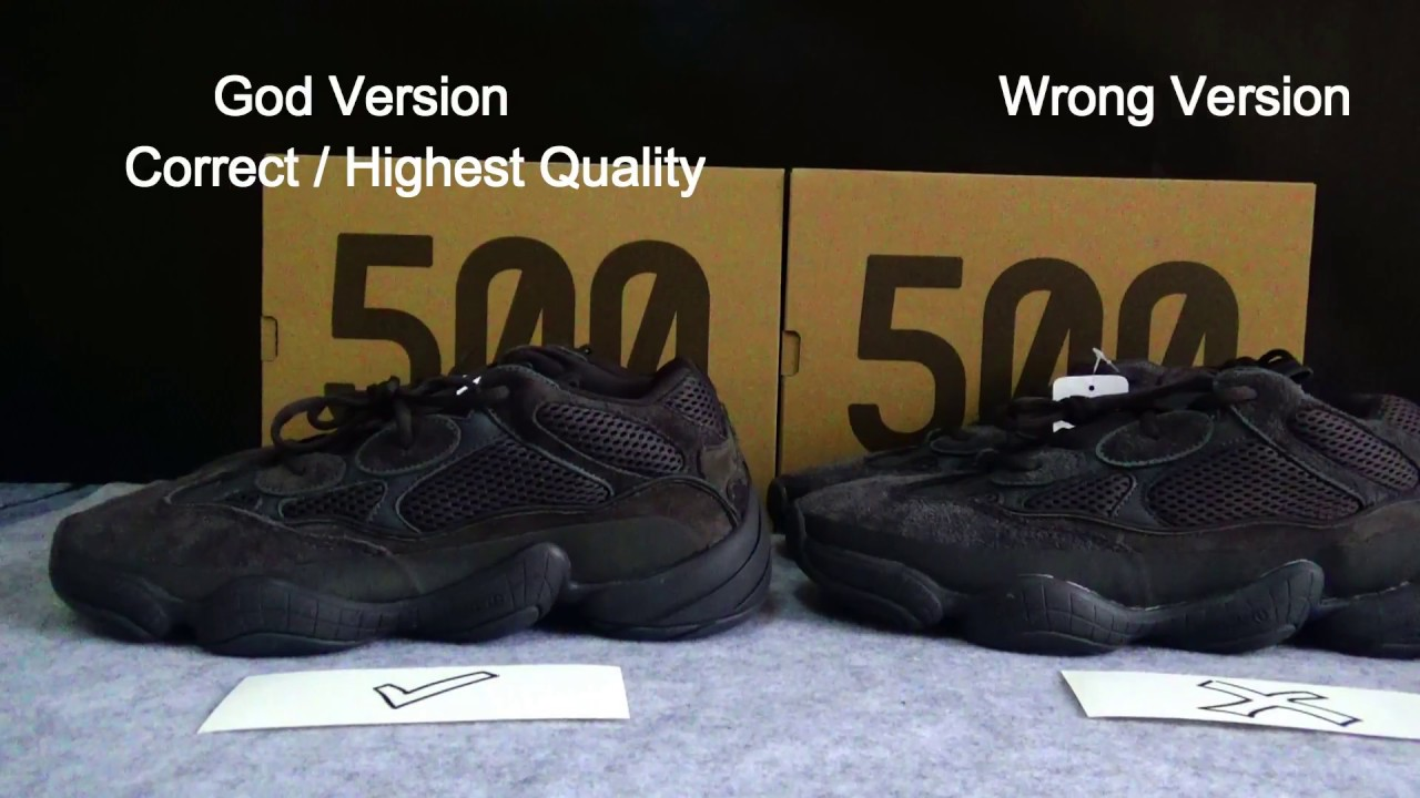 61d4bfef0d7e0 REAL VS FAKE YEEZY 500 Utility Black REVIEW - YouTube