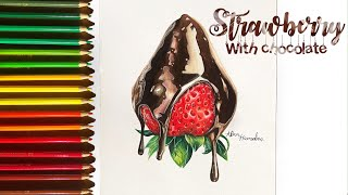 Speed Drawing Strawberry Dipped In Chocolate Using Faber Castell Classic Youtube