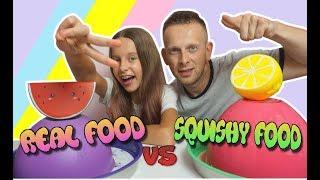 SQUISHY FOOD vs REAL FOOD CHALLENGE z Tatą - Kto przegra wykonuje wyzwanie