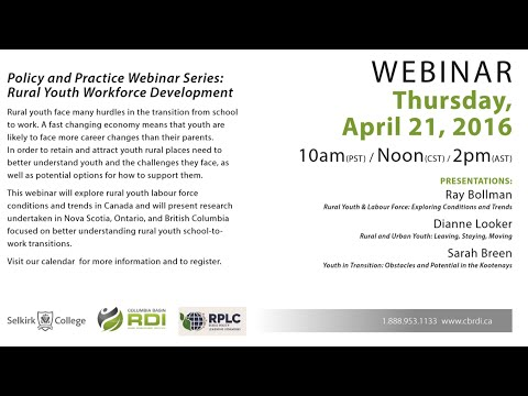 WEBINAR: Rural Youth Workforce Development: Policy and Practice