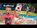 Hello Neighbor in Real Life  Smashers Toy Scavenger Hunt  Throws Toys in Our Pool