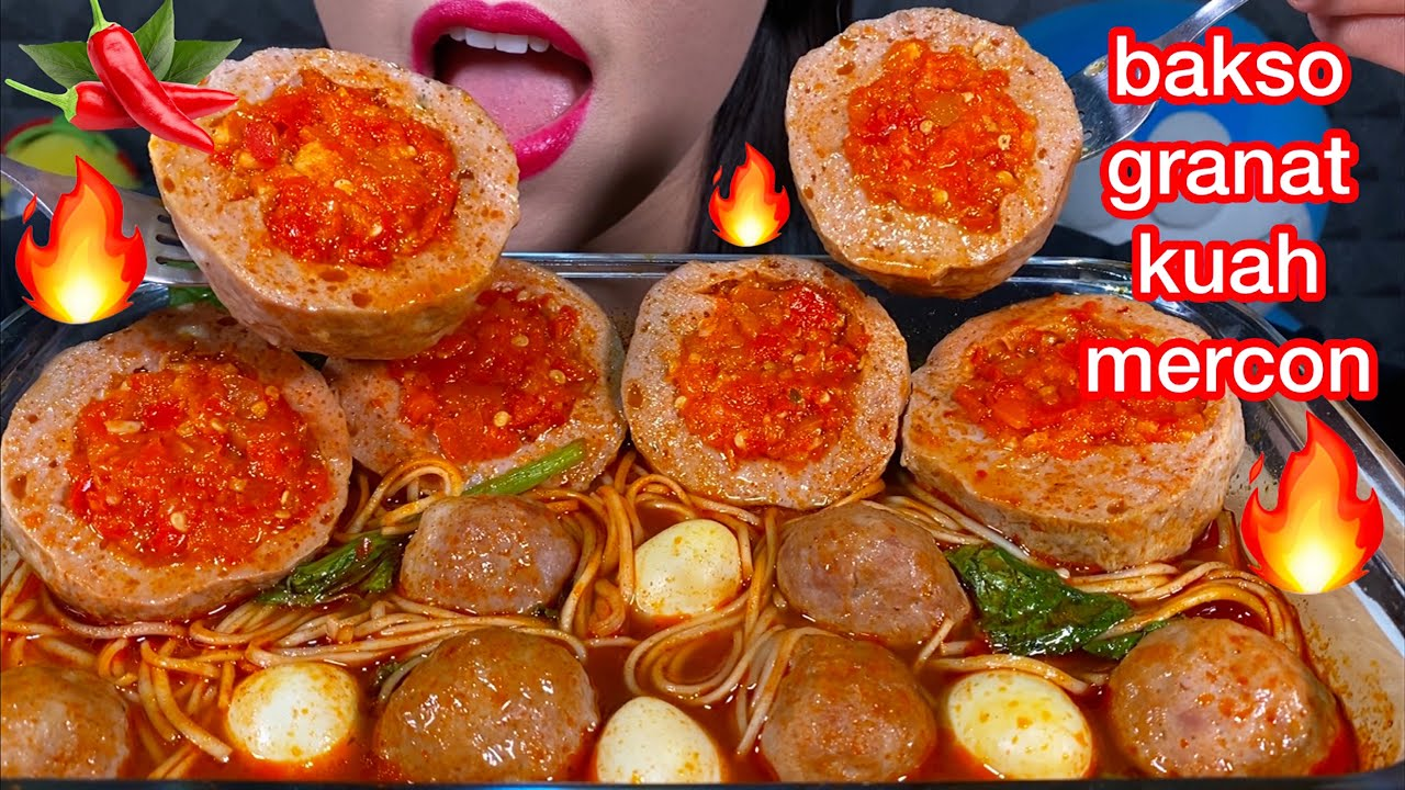 MAKAN BAKSO GRANAT KUAH MERCON *SPICY MEATBALL EGG NOODLES ASMR MASSIVE Eating Sounds