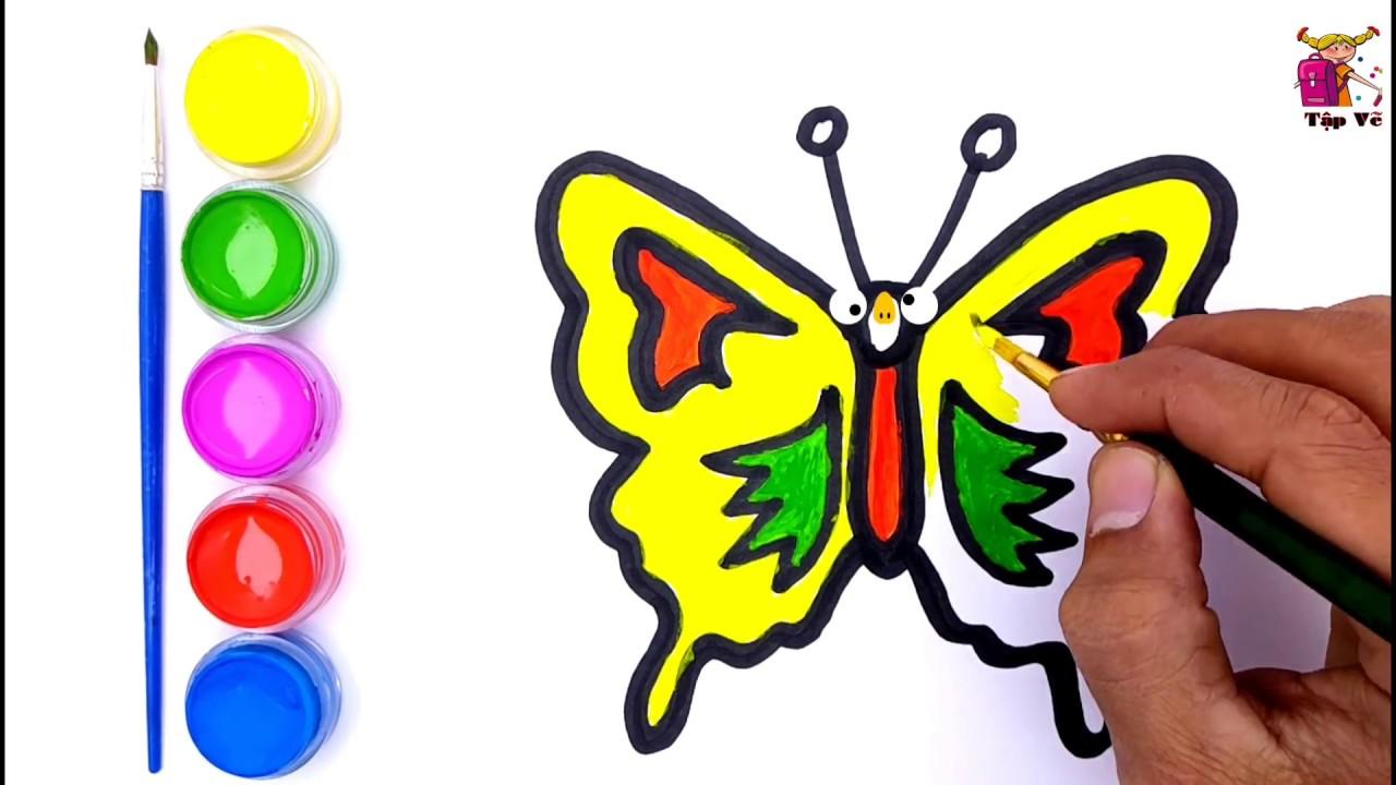 Vẽ và tô màu con bướm   Draw and color the butterfly