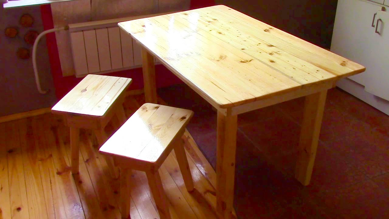 Perfect Make A Table! How To Build Wood Table + 2 Tabouret DIY