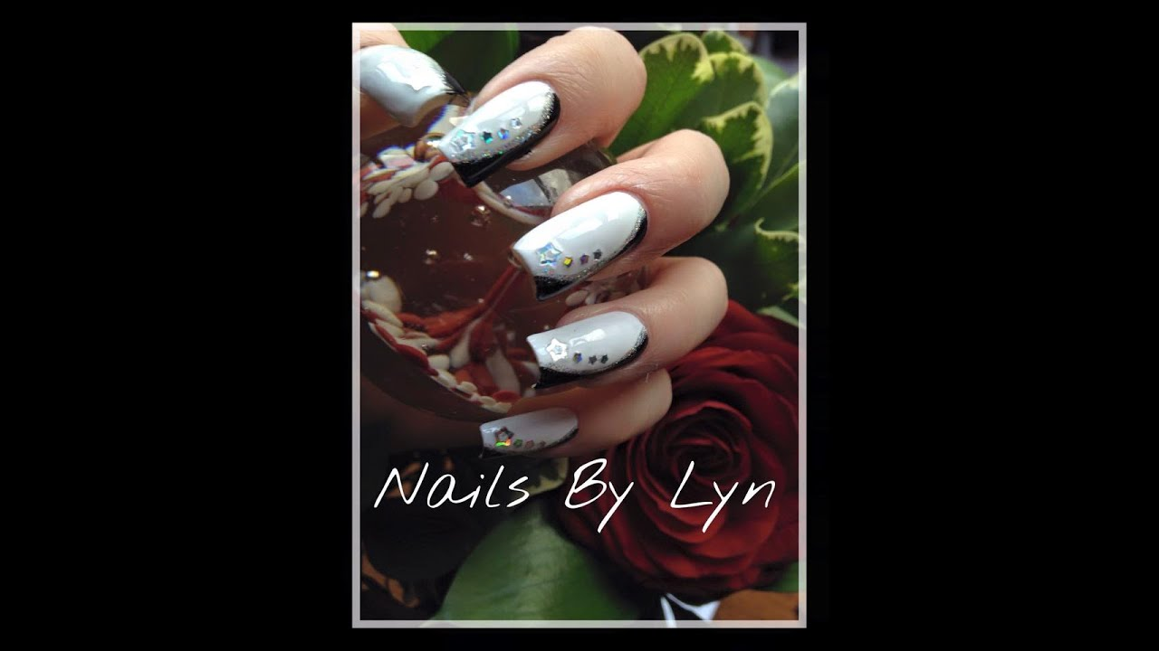 Elegant black white nail art design youtube