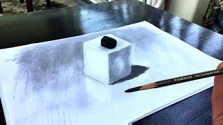 Cara menggambar kubus 3 dimensi yang terlihat nyata