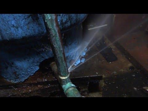 water leak on copper pipe in celler area