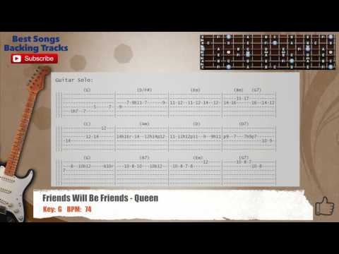 Friends Will Be Friends Queen Guitar Backing Track With Chords And