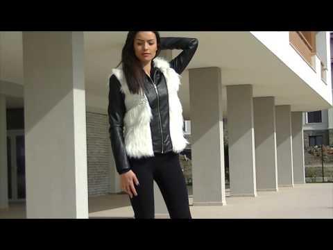 Черно късо кожено яке с бял пух и плетиво