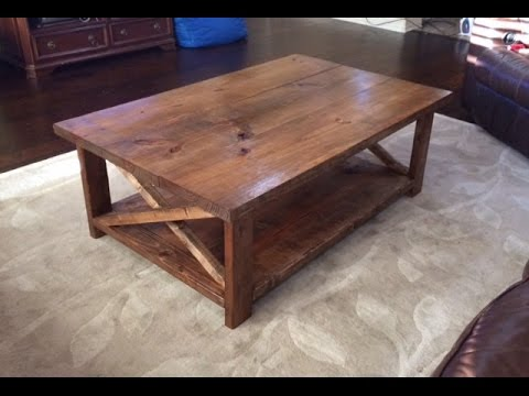 How to make a rustic coffee table with a bottom shelf. Ana