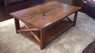 How to make a rustic coffee table with a bottom shelf. Ana White - DIY. Video 4