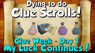 My Luck Strikes Again! Clue Week - Day 1 [Runescape 3] Dying to do Clue scrolls!