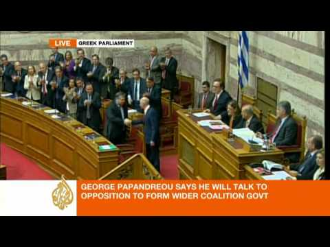 Barnaby Phillips reports on Papandreou's pre-vote speech