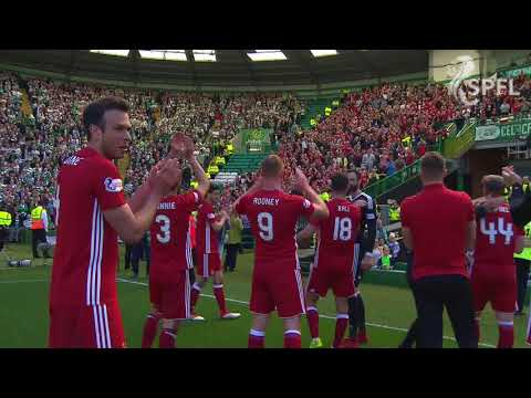 Aberdeen players celebrate famous win at Celtic Park
