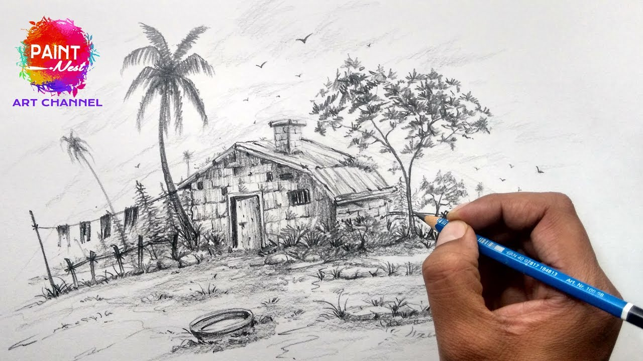 How to Draw Simple Landscape | Easy Method For Beginners ...