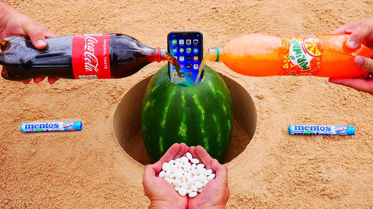 Coca Cola and Mirinda vs iphone 11 in a Watermelon vs Mentos Underground
