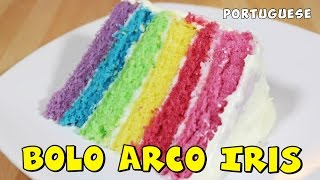 Bolo Arco Iris   Rainbow Cake In Portugues
