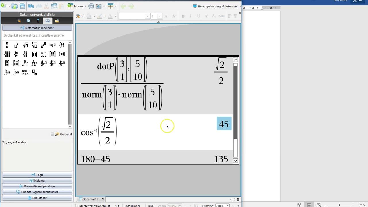 Nspire - Find vinkel mellem to vektorer