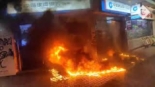 Hong Kong protesters set fire to Chinese banks amid violent clashes