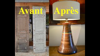 TRANSFORMATION DE DEUX VIEILLES PORTES EN PIED DE LAMPE. 387.