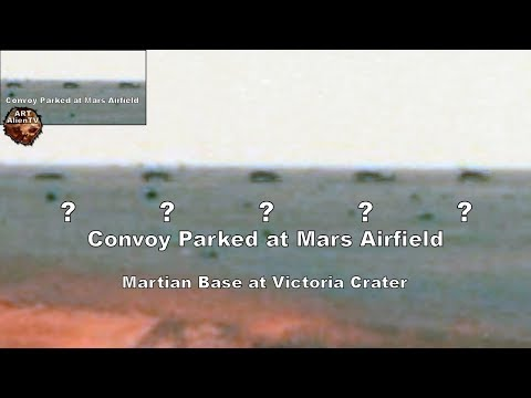 Convoy Parked at Mars Airfield - Martian Base: Victoria Crater - ArtAlienTV