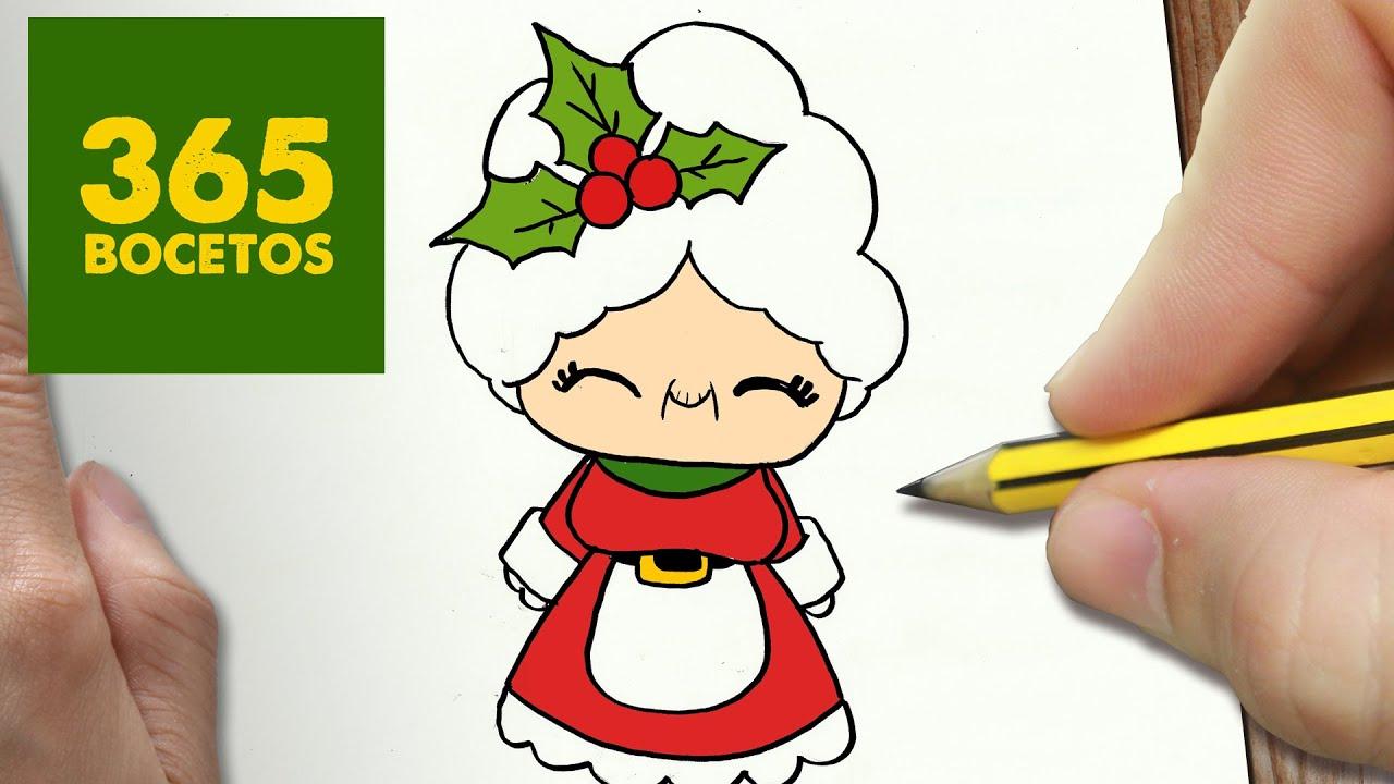 COMO DIBUJAR MAMA NOEL PARA NAVIDAD PASO A PASO: Dibujos