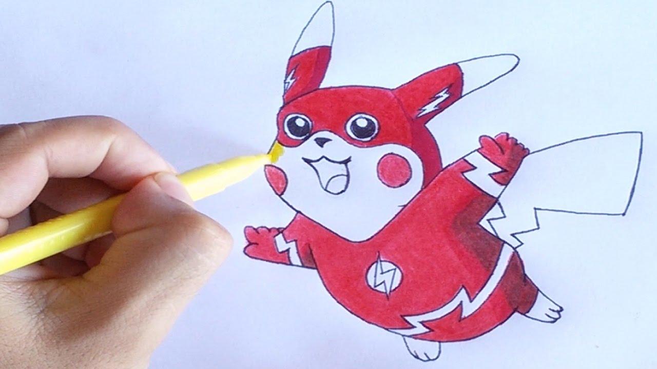 Desenha Facil Pikachu Com Roupa Do Flash Youtube