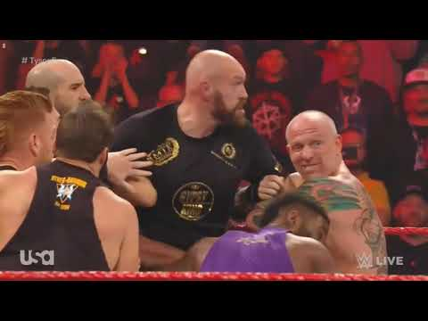 Tyson Fury Vs Brawn Stowman WWE 07 10 19 Тайсон фьюри против Брауэмена Строумена