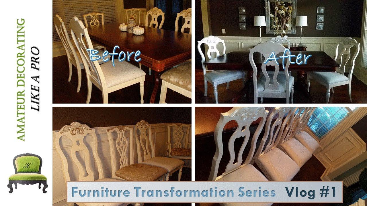 furniture transformation series vlog 1 painting metallic dining
