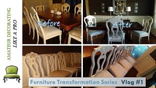 Furniture Transformation Series Vlog # 1 - Painting Metallic Dining Room Chairs