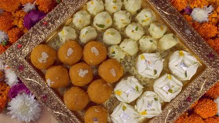 Top view of a decorated plate with Indian sweets on the occasion of Diwali - the festival of India