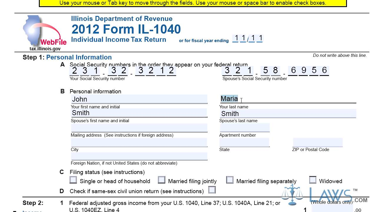 Form IL 1040 Individual Income Tax Return - YouTube