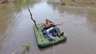 AIR MATTRESS ON A RIVER OVERNIGHT CHALLENGE! (GONE VERY WRONG)