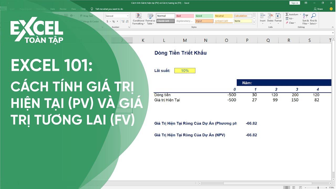 45. Cách tính Giá trị hiện tại (PV) và Giá trị tương lai (FV) | Khóa học phần mềm văn phòng Excel