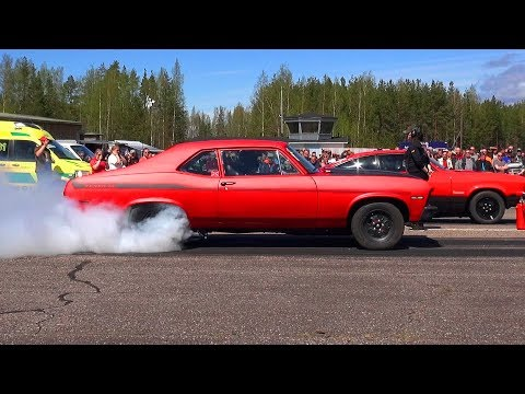 High Power Street Cars Drag Racing - Vesivehmaa Airfield 2017