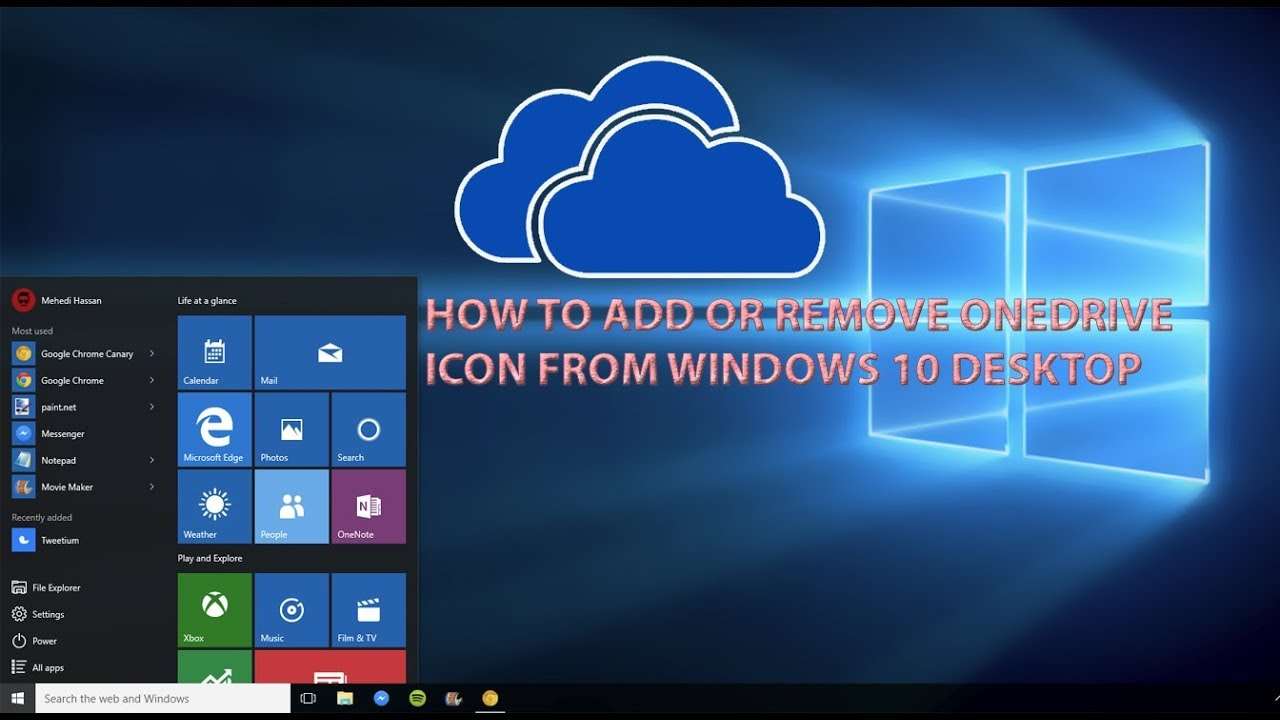 How To Add Or Remove OneDrive Desktop icon in Windows 10