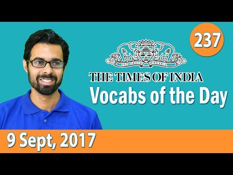 ✅ The Times of India Vocabulary (9 Sept, 2017) - Learn 10 New Words with Tricks | Day-237