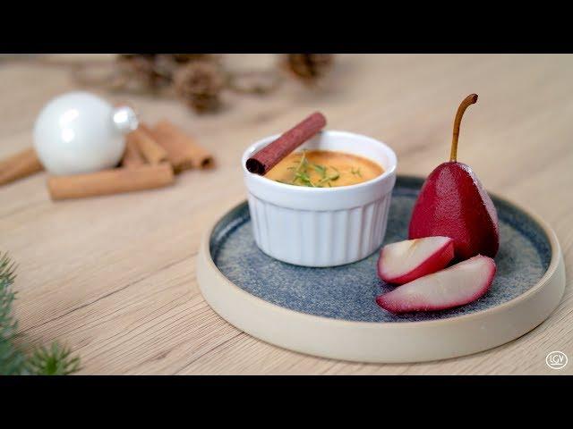 LGV Frischgemüse - Rotweinbirne mit Vanillecreme