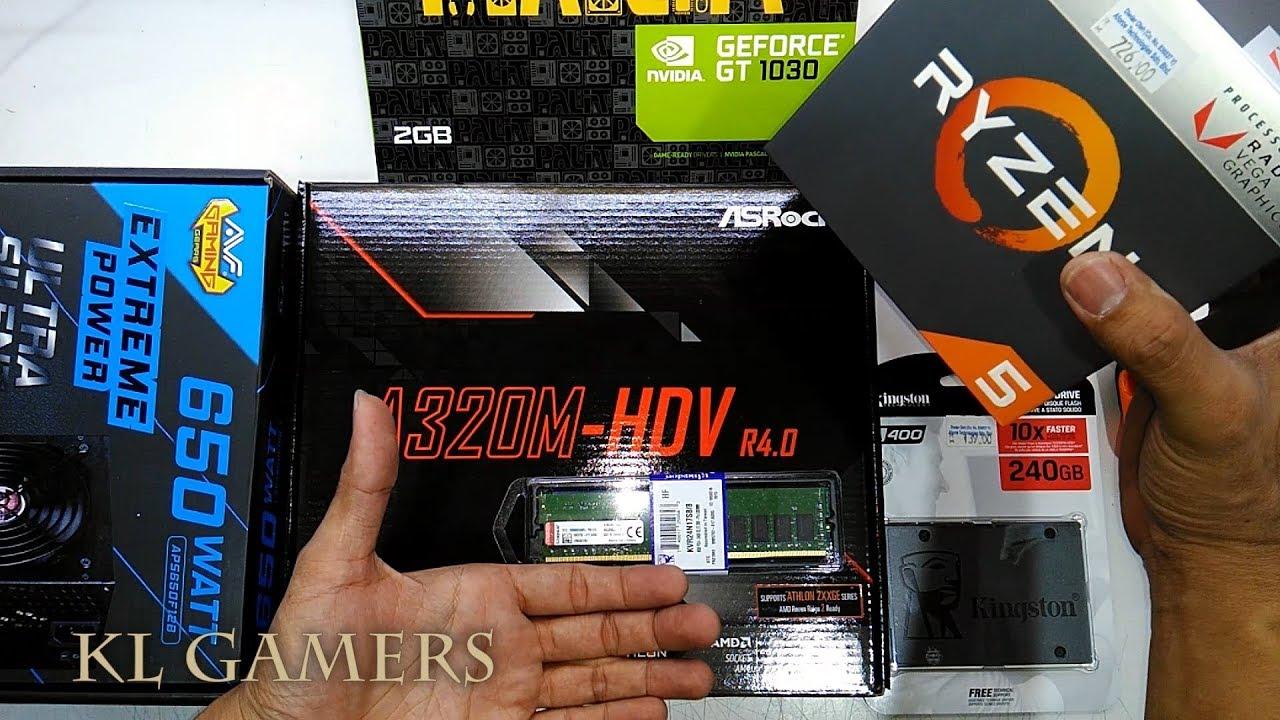 AMD Ryzen 5 2400G ASRock A320M-HDV R4 0 Kingston A400 PALIT GT1030 Budget  Gaming 2019