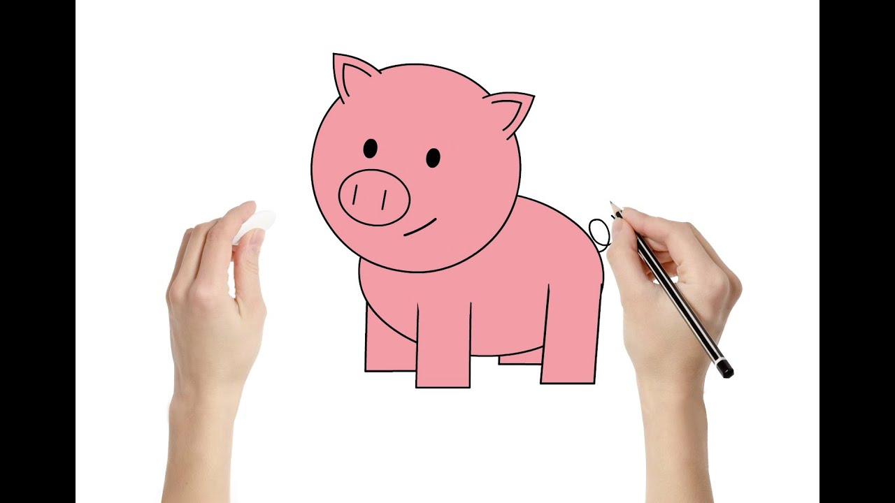 how to draw a pig fun learning art activity for kids youtube