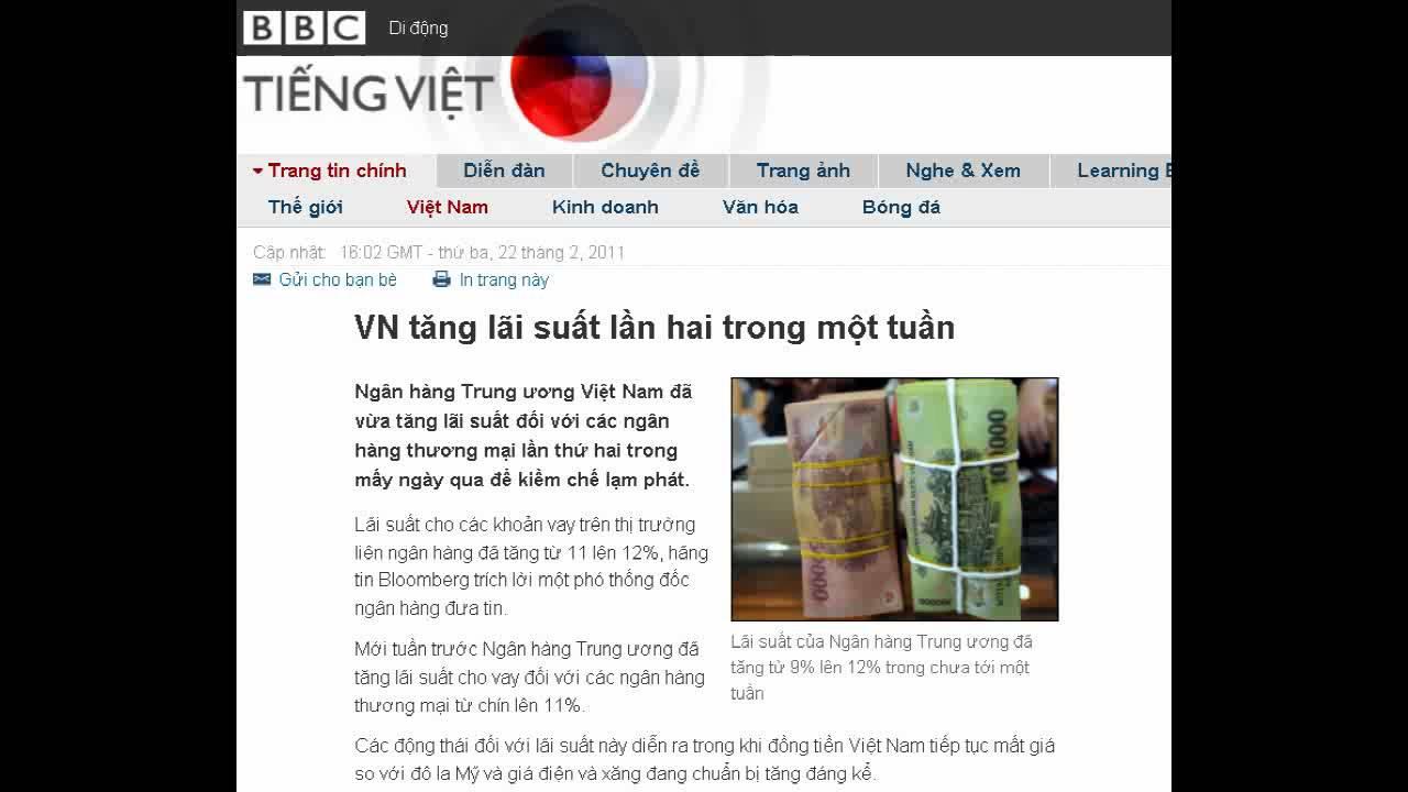 22-02-2011 – BBC Vietnamese – Việt Nam 'không phát hành tiền 1 triệu đồng'