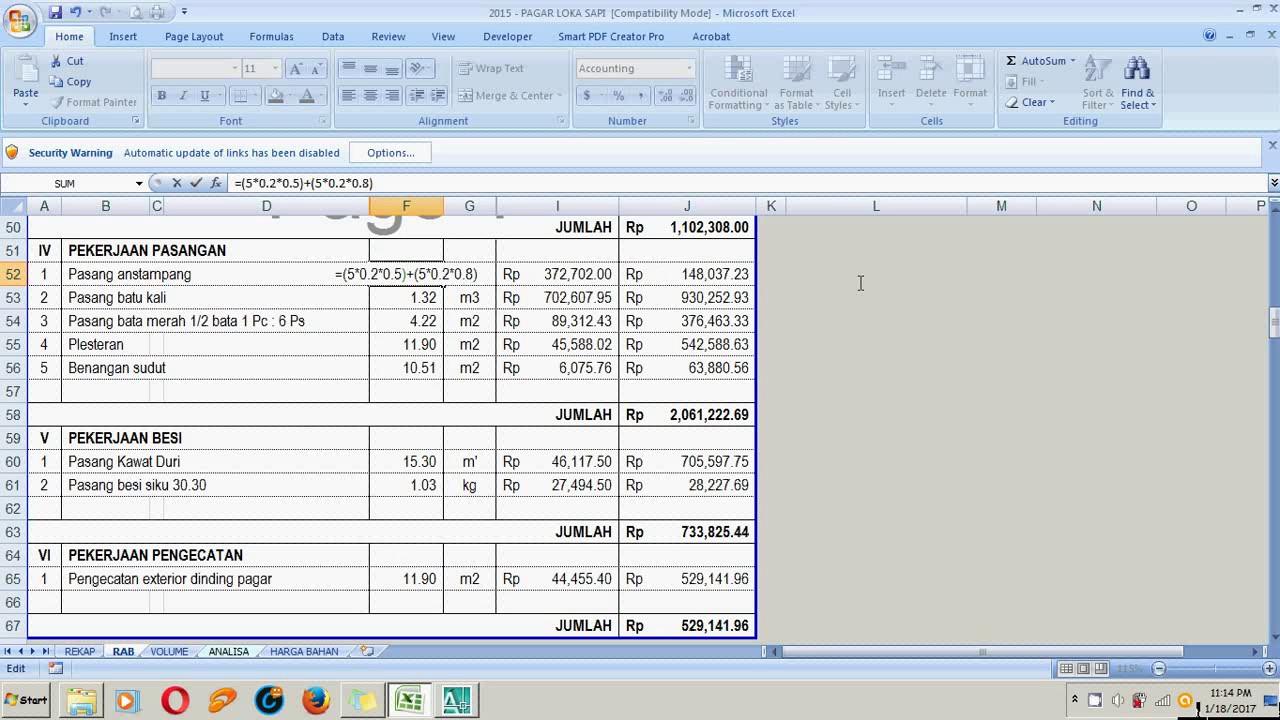 Contoh Rab Rumah Type 70 Excel - Barisan Contoh