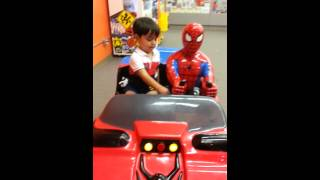jude surprised that he is riding with spiderman