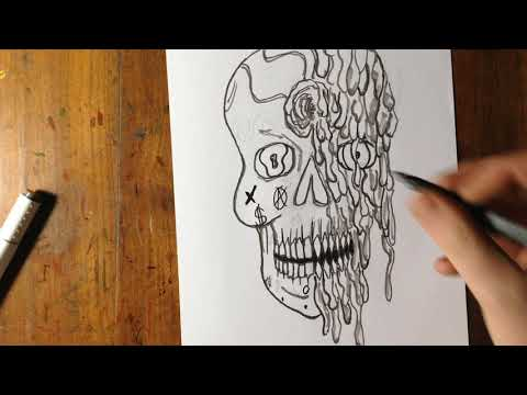 Melting Sugar Skull Pen Drawing